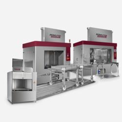 Frontlader Spritzreinigungsanlagen von Perkute für die industrielle Teilereinigung bei Linda Maschinen Industrietechnik aus Kuchl.